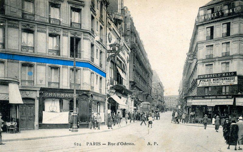 Rue d'Odessa à l'angle de la rue du départ