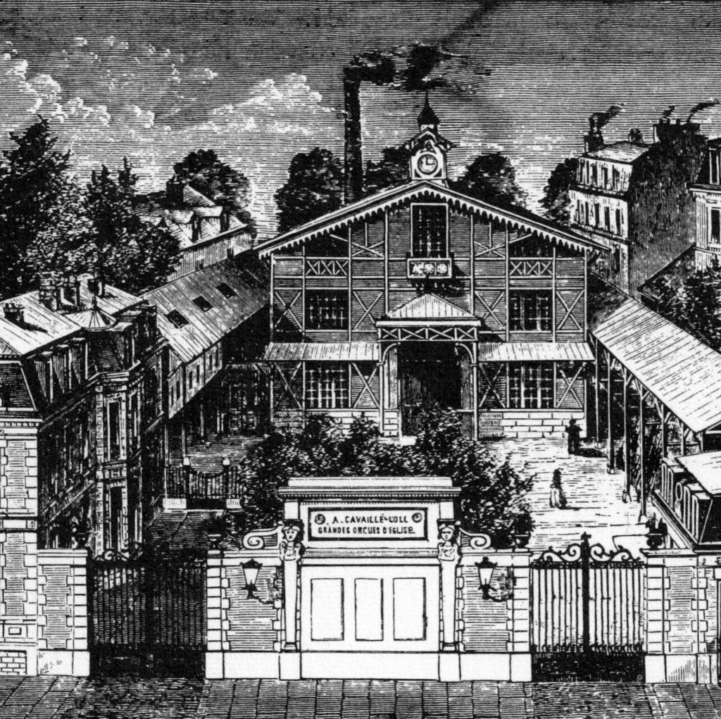 Dessin de la manufacture Cavaillé Coll avenue du Maine dans le 15ème arrondissement
